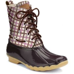 Sperry Shearwater Rain Duck Boot - Pink Plaid